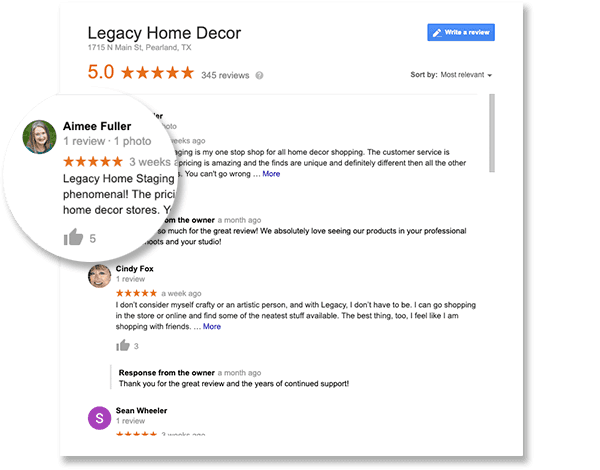 Pearland Home Decor Google Review Screenshot